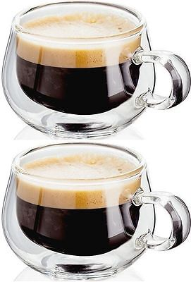 2 x Judge Double Hand Crafted Wall Espresso Glass Coffee Glasses Cup