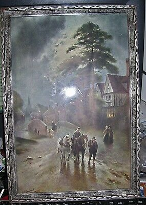 Irish Clydesdale horses walking home after days work signed artwork fancy frame