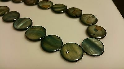 18x Flat Round Natual mother of pearl shell beads 20mm Bluish Grey Jewellery