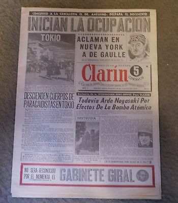 reproduction Diario Clarin Argentia First Issue 28/08/1945
