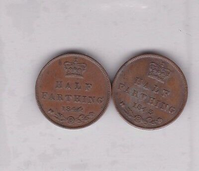 1843 & 1844 Victorian Half Farthings In Good Fine To Very Fine Condition