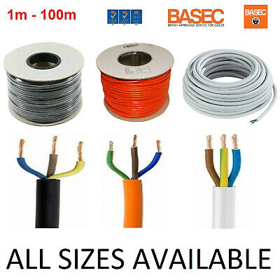 NEW 3 Core Round PVC  Wire 0.5 0.75 1 1.5 2.5mm Flexible Cable 1m 100m 3-24 Amp