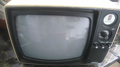 Vintage Black and White Harwood TV Made in Korea  COLLECTION ONLY