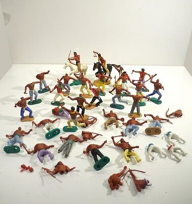 Large Collection of Vintage Timpo Toy Soldiers - Native American Warriors.