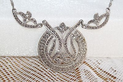 Lavish 25g ART DECO Vintage STERLING Silver MARCASITE Statement Necklace