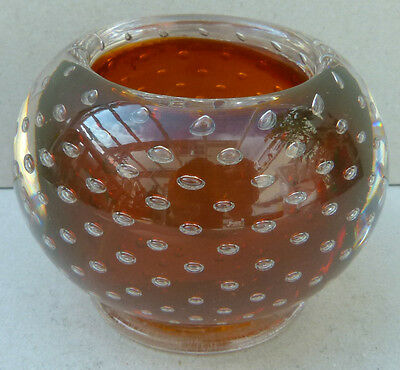 Vintage Carl Erickson Hand Blown Controlled Bubble Small Glass Bowl - (3034)