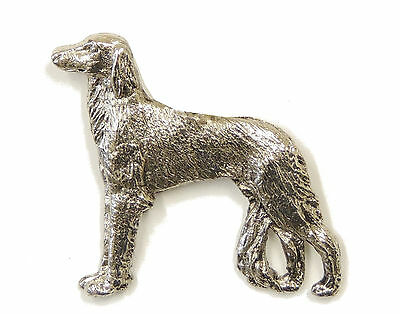 Saluki Brooch, Silver Finish