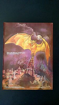 "Meat Loaf  ""bat Out Of Hell"" Is Gold 1978, Rare Original Print Promo Poster Ad"