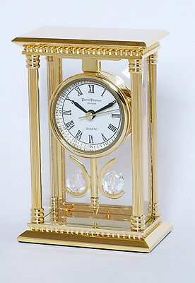 Mantel/Desk clock - 24k gold plated solid brass - 2 x crystal balls - SKC03 New