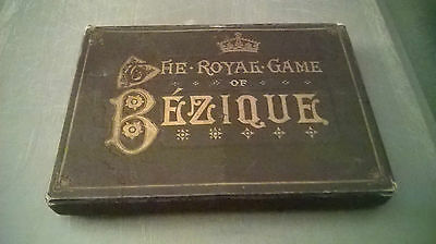 ANTIQUE ROYAL GAME OF BEZIQUE PLAYING CARDS c1872