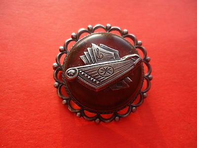 Vintage  Antique Ethnic Latvian .875 Silver  Brooch with Amber