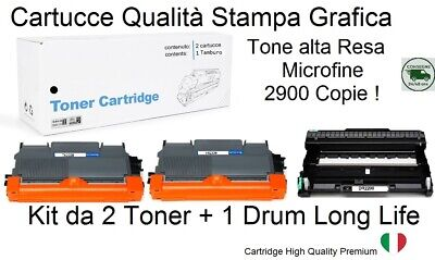 Cartuccia Per Brother Hl-2130 Hl-2132 Hl2135 Kit 2 Toner Tn2220 + 1 Drum Dr2200