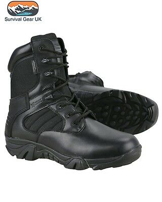 Military Tactical Black Pro Boots Zip Up Leather Sizes 8, 9,10 Mens British Army