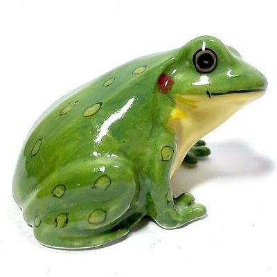 Miniature Fat Green Frog Cute Ceramic Animal Figurine Statue Collectibles Decor