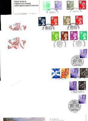 9 Scotland Definitive  FDC First day Covers - Good Condition