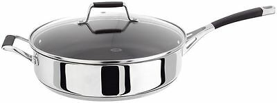 Stellar 5000 Stainless Steel Non Stick Induction Saute Pan Glass Lid 28cm