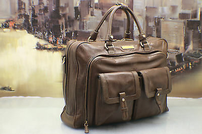 TUMI Italy Vintage Leather Shoulder Briefcase Tote Travel Bag Womens