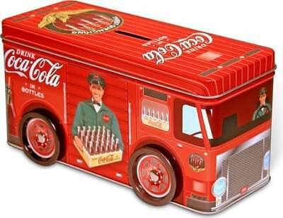 Coke: Tin Truck Coin Bank With Wheels
