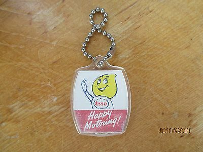 Vintage 1960s Esso Gas Flame Flicker Flasher Advertising Plastic Keychain