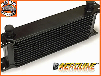 "AeroLine 10 Row Black Alloy Oil Cooler 1/2"" BSP Fast Road & Race UNIVERSAL"