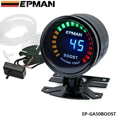 "Racing 2"" 52mm Digital Color Analog LED PSI/BAR Turbo Boost Gauge Meter With Sen"