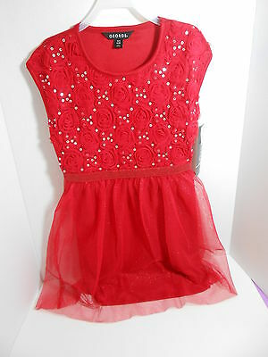 Girls George Party Holiday Soutache & Sequins Dress Red Flower Size 4/5 NEW