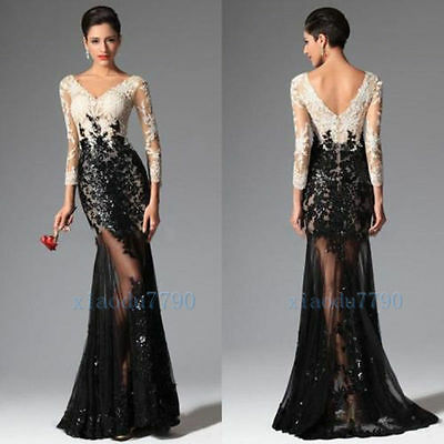 Black Lace Long Evening Cocktail Formal Party Dress Wedding Bridesmaid Prom Gown