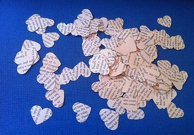 300 Vintage Text Paper Heart Wedding Confetti Shabby Chic Party Table Decoration