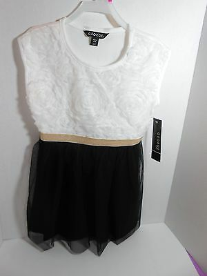 Girls George Party Holiday Dress White Black & Gold Size M 10/12 NEW