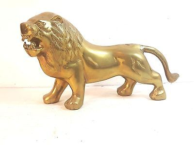 "SOLID BRASS LION FIGURINE 15"" LONG Must See!"