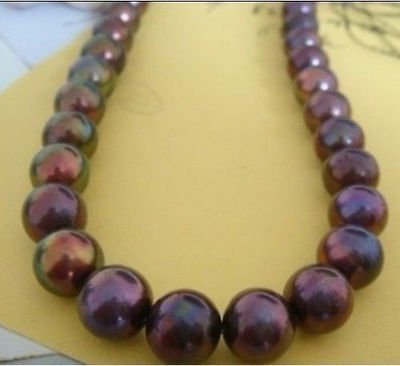 natural south seas black red pearl necklace18inch