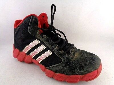 ADIDAS Boys Basketball Shoes Size 5Y Black Red White Mid Tops
