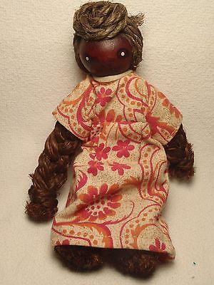 Antique Hand Made Braided Rope Island African Black Doll Wood Head Old Dress