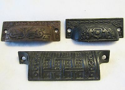 Lot of 3 Antique Eastlake Victorian Cast Iron Cup Drawer Pulls