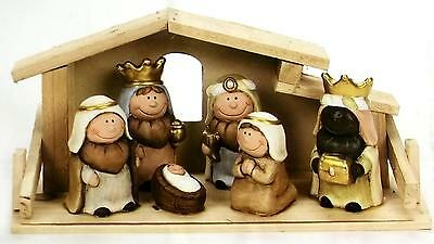 Nativity Set Christmas Ornament Child Like Characters Ceramic / Pottery 6 Piece