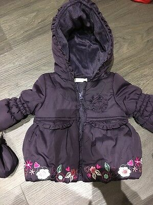 Baby Girl M&co Purple Fleece Lined Coat And Mits 0-3