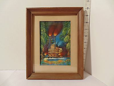 Vintage 1953 Econolite On The Bayou Riverboat Motion Lamp Picture Frame Only