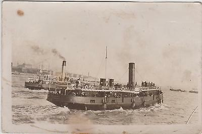 Rp Ww1  Two  Ferries (Ferry)  Liverpool , Real Photo Posted 1918