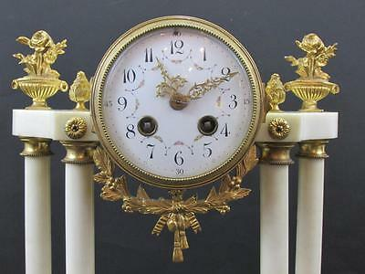 ANTIQUE FRENCH MARBLE & ORMOLU MANTEL CLOCK light restoration STRIKING a BELL