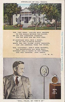 Old Postcard Birthplace Will Rogers Actor Cowboy 1930S Anglesey Interest