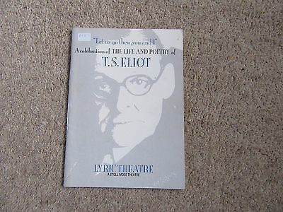 1987 Celebration of the Life and Poetry of T S Elliott, Lyric Theatre, London