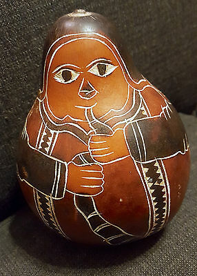 """Painted & Carved Gourd Art * Man with Flute or Pipe * Seeds Rattle 5.3"""" x 4.5"""""""