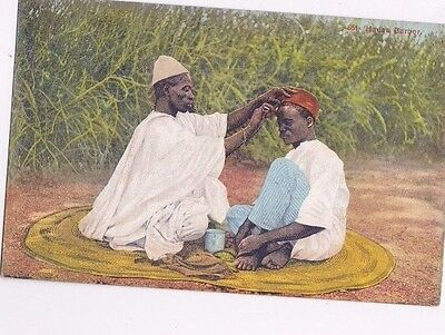 Old Postcard Hausa Barber Lagos Nigeria Africa Ethnic Men Fez Nv383