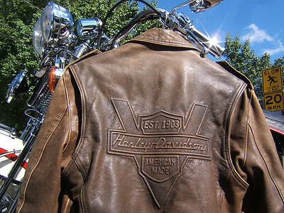 Harley Davidson Brown Heritage Leather Jacket Small Matching Chaps