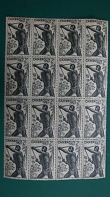 1946 Cameroon Mint Block of 16 Bowman Stamps 2F