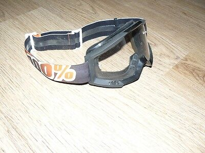 Masque lunette moto cross 100% Strata noir orange