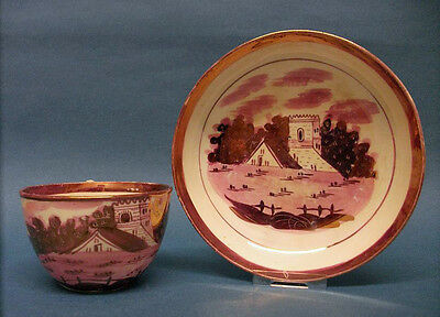A Staffordshire Bute Shape Cup and Saucer with Pink Lustre Decoration, c.1810