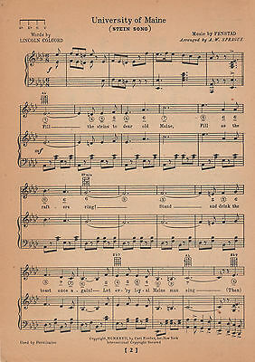Vintage UNIVERSITY of MAINE song sheet-'STEIN SONG' c 1929 ORONO