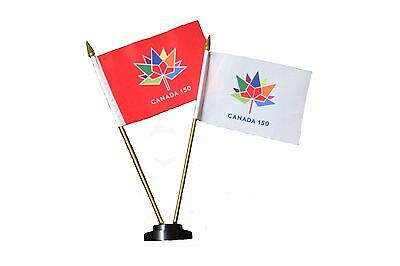 Canada 150 Year An. 1867-2017 White & Red  4 X 6 Inch Flag Banners W/  Stand