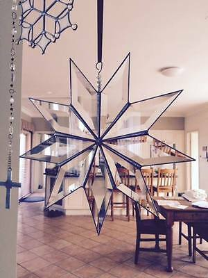 Hand made Bevelled Glass Suncatcher Decoration - 9 Pointed Star